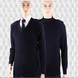 07海军藏青色圆领羊毛衣男女通用纯羊毛